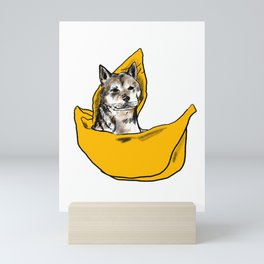 Peanut sailing in his banana boat Mini Art Print