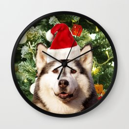 Santa Hat Siberian husky Christmas Tree Snowman Gift Box Wall Clock