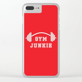 Gym Junkie Duffel Gym Sports Leisure Bag Red White Clear iPhone Case