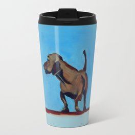 Doxie Dog in Red White and Blue Travel Mug