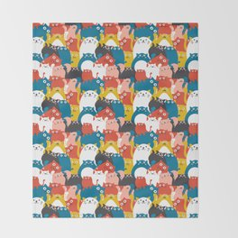 Cats Crowd Pattern Throw Blanket