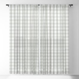 Desert Sage Grey Green and White Gingham Check Sheer Curtain