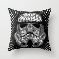 trooper Throw Pillows featuring Trooper Star Circle Wars by Msimioni