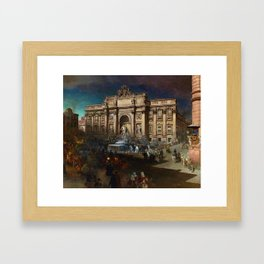 La Fontana di Trevi (Fountain of Trevi) at Moonlight by Oswald Achenbach Framed Art Print