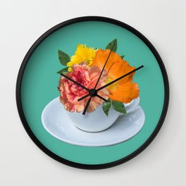Floral Teatime Wall Clock