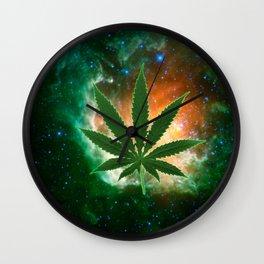 Super Dank 420 Natural high space weed Throw Pillow by Kushcoast Wall Clock