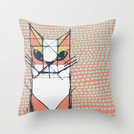 Cubist Cat Study #7 by Friztin Throw Pillow