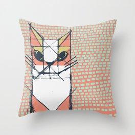Cubist Cat Study #7 by Friztin Throw Pillow
