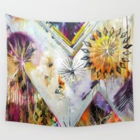 "flora bowley Wall Tapestries featuring ""Burn Bright"" Original Painting by Flora Bowley by Flora Bowley"