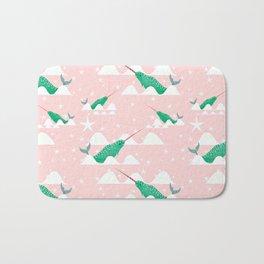 Sea unicorn - Narwhal green and pink Bath Mat