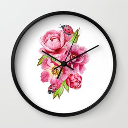Watercolor pink bouquet of peonies flowers and ladybug beetles insects. Wall Clock