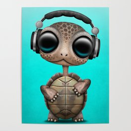 Cute Baby Turtle Deejay Wearing Headphones Poster