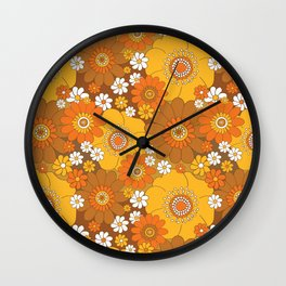 Pushing daisies Orange and brown Wall Clock
