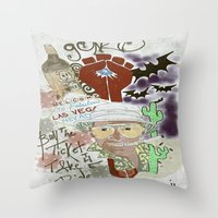 fear and loathing Throw Pillows featuring Fear and Loathing Print by Just Bailey Designs .com