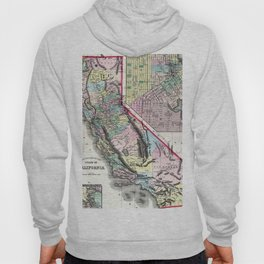 1872 Map of California and San Francisco Hoody