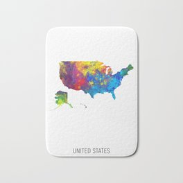 United States Watercolor Map Bath Mat