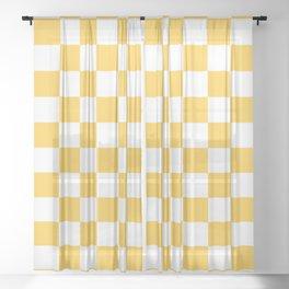 Checkered (Orange & White Pattern) Sheer Curtain