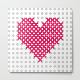 embroidered cross on canvas heart Metal Print