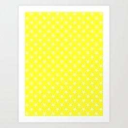 Cream Yellow on Electric Yellow Stars Art Print