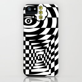 optical visual illusion thinking cloud of black and white chess board tunnel op art  iPhone Case