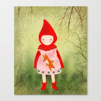 red riding hood Canvas Prints featuring Little red riding hood by munieca
