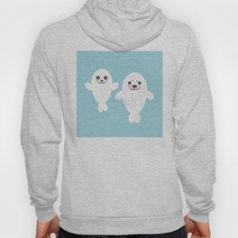 Funny albino white fur seal pups, cute kawaii seals Hoody