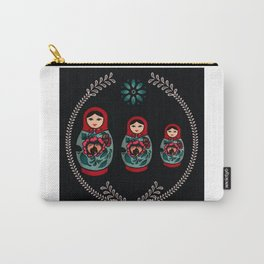 Russian Dolls // Folk Art // Red, Black and Teal  Carry-All Pouch