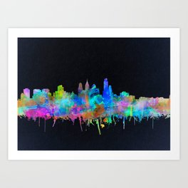 philadelphia city skyline watercolor Art Print