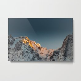 Last light before sunset on mountains Metal Print