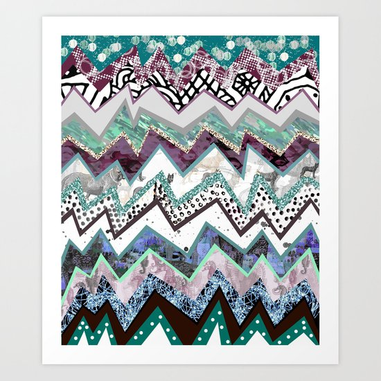 Cool Blues Zigzags Abstract Art Print