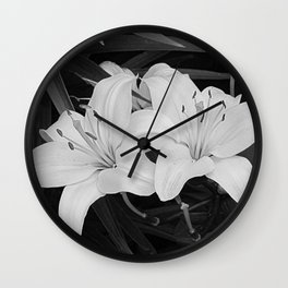 Contemporary Black White Lily Flower Floral Art A116 Wall Clock