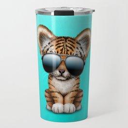 Cute Baby Tiger Wearing Sunglasses Travel Mug