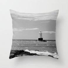 Sakonnet Point Lighthouse B&W Throw Pillow
