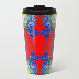 WESTERN YELLOW & RED GARDEN GOLD BLUE FLOWERS Travel Mug