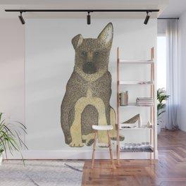 """Blue"" the German Shepherd Dog (GSD) Puppy Wall Mural"
