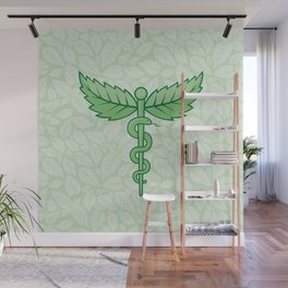 Caduceus with leaves Wall Mural