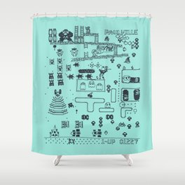 Retro Arcade Mash Up Shower Curtain
