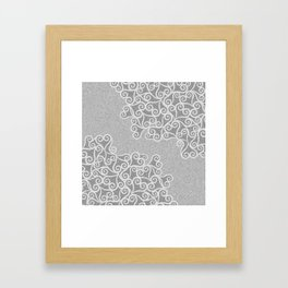 Comtemporary Abstract Leaves Grey Pattern Framed Art Print