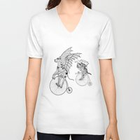 steam punk V-neck T-shirts featuring Steam Punk Pets by Rebecca Pocai