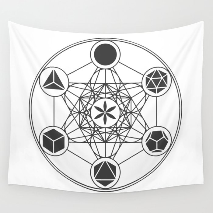 Metatron's Cube with Platonic Solids and Seed of Life Wall Tapestry by  aetherpeak