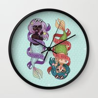 patriarchy Wall Clocks featuring ♀ Crush the patriarchy ♀ by ♡ SUSHICORE ♡