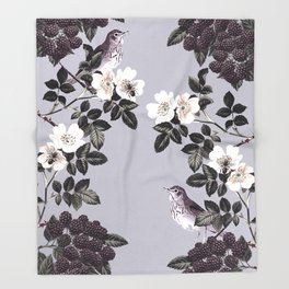 Birds and the Bees Blue Gray Throw Blanket