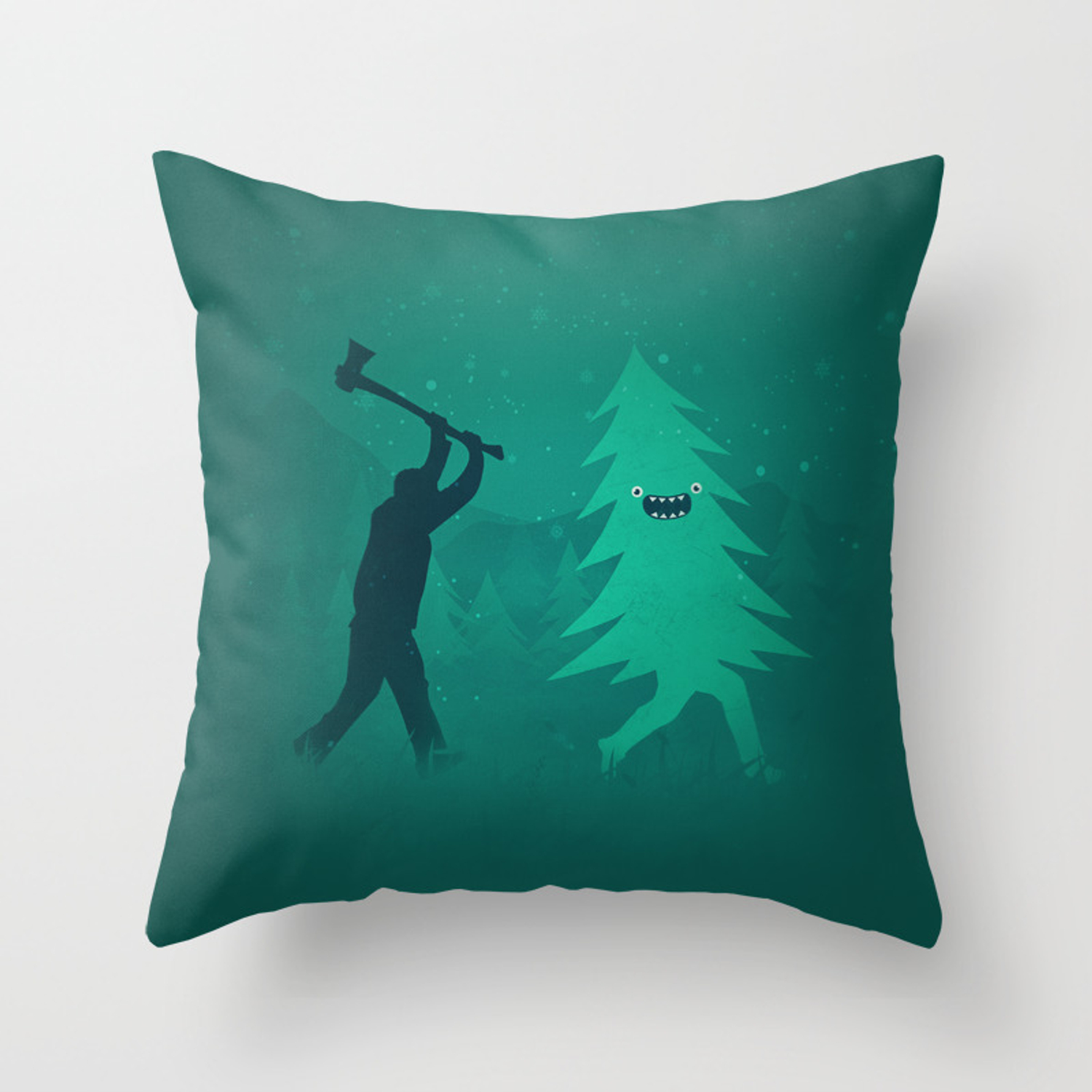 Picture of: Funny Christmas Tree Hunted By Lumberjack Funny Humor Throw Pillow By Badbugsart Society6