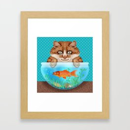 Cat with Goldfish Bowl Whimsical Kitty and Fish Framed Art Print
