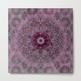 Vintage Merlot Lace Mandala Metal Print