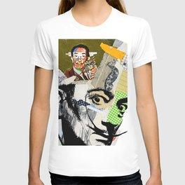 Salvador Dali Colorful Mixed Media Collage Art T-shirt