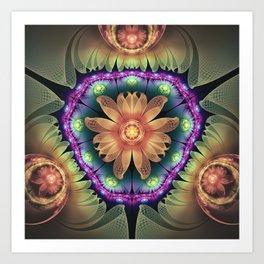 Crystalline Orange Quartz Agate Fractal Flowers Art Print