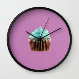 Cupcake Love   Mint Chocolate on Lavender Wall Clock