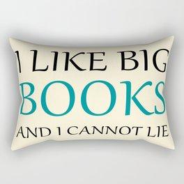 I like Big Books - cream and blue Rectangular Pillow