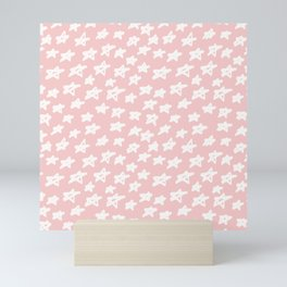 Stars on pink background Mini Art Print